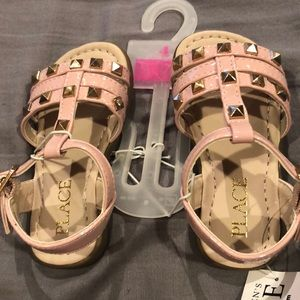 Pink and gold stud sandals